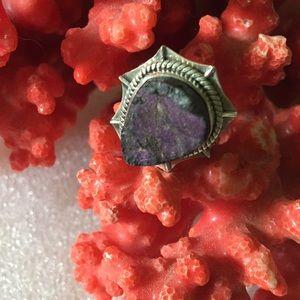 Vintage 925 earth mined purpurite druzy ring